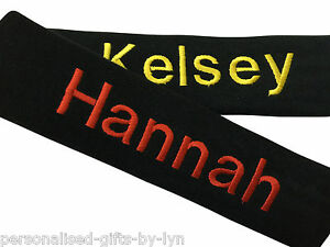 2 PERSONALISED CAR SEAT BELT PADS embroidered with any name
