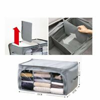 Foldable Underbed Clothes Storage Bags Ziped Organizer Boxes Wardrobe Cube Grey