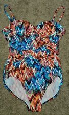 Croft & Barrow Multi-colored Draped Front One Piece Swimsuit 12