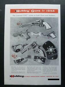 RARE Vtg 1958 DEALER Ad - Hubley Cap Gun Colt 38 & 45, Hawk, Mountie 1950's