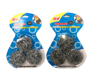 2 Packs 3pcs/pack Stainless Steel Scouring Pads Wire Balls Kitchen Washing