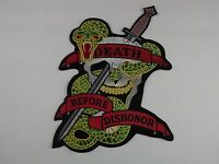 "BRAND NEW ""DEATH BEFORE DISHONOR"" KNIFE SKULL SNAKE Large Patch 12"""