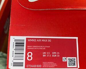 Nike Air Max 90 PRM Women's CT3449-600 Platinum Crimson Bright Purple  Rare