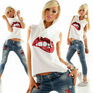 Maglia donna t-shirt felpa senza maniche con cappuccio labbra e paillettes