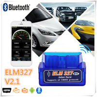 Mini ELM327 V2.1 OBD2 II Bluetooth Diagnostic Car Auto Interface Scanner Blue