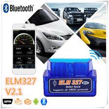 Mini ELM327 V2.1 OBD2 II Bluetooth Diagnostic Car Auto Interface Scanner Blue