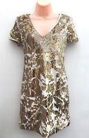 Ladies Ex Miss Selfridge Stunning Gold Sequin Stretch Party Dress Sizes 4-16