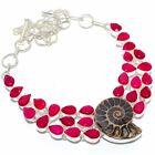 """Ammonite Fossil, Ruby Gemstone Silver Jewelry Necklace 18"""" MQR-2864"""
