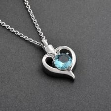 Cremation Memorial keepsake,Blue Crystal Heart Pendant And Necklace for Ashes.