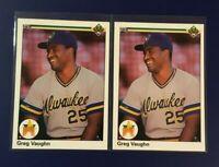 1990 Upper Deck #25 GREG VAUGHN Rookie Lot Milwaukee Brewers Sharp LOOK !