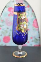 Beautiful Blue and Gold Detailed Slim Glass Vase 25cm Tall