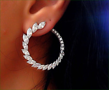 4.31CT MARQUIS EPIPHANY DIAMONIQUE HOOP STERLING SILVER PLATINUM CLAD EARRINGS