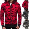 Men Camouflage Full Zip Sweatshirt Hoodie Hooded Coat Jacket Outwear Winter Warm