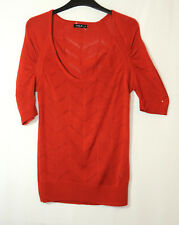 RUST ORANGE RED LADIES CASUAL TOP BLOUSE KNITTED SIZE L VILA CLOTHES STRETCH