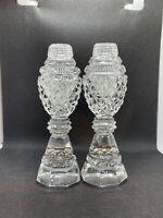"Vintage Cut Lead Crystal Glass Salt & Pepper Shakers 6"" Crystal Tops"
