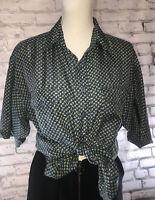 Vintage 100% Pure Silk Paisley Print Blouse Shirt Size S Free Fit Blouse