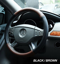 """IGGEE BLACK/BROWN S.LEATHER PREMIUM HIGH QUALITY STEERING WHEEL COVER 15"""""""