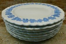 SET OF 7 - WEDGWOOD QUEENS WARE BLUE LAVENDER ON CREAM EMBOSSED LUNCHEON PLATES