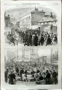 Colliery Riots In Yorkshire, Escorting Pensioners & Prisoners Engravings 1870