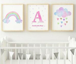 Rainbow Cloud Personalised Name Girls Bedroom Nursery Wall Art Picture Prints