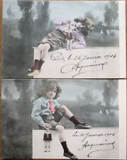 Doll/Puppet/Marionette & Little Boy PAIR 1904 French Fantasy Postcards