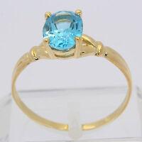 ♦ Ring in aus 8 kt 333 Gelb Gold mit Blautopas Goldring Edelsteinring Topasring