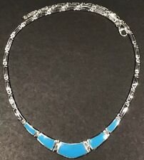New 925 Solid Sterling Silver Handmade Greek Key Necklace With Turquoise Stone