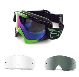 PULSE GREEN MOTOCROSS MX BMX MTB GOGGLES BLUE LENSE + 2 FREE LENS & 20 TEAR OFFS