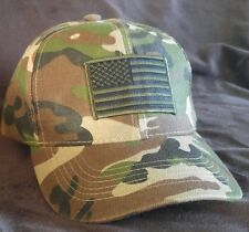 Camouflage Black & Green U.S.A. Flag Baseball Cap low profile Structured Hat