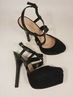 New Look size 5 (38) black faux suede / leather strappy platform stilettos heels