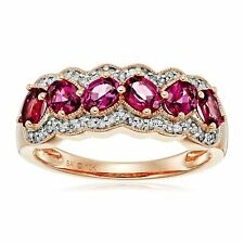 Natural Rhodolite Garnet & 1/5 ct Diamond Band Ring in 10K Rose Gold
