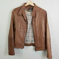 [ VERA PELLE ] Womens Brown Leather Distressed Jacket | Size AU 10 or US 6