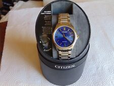 Citizen Eco-Drive 42mm Brushed & High Polished SS Solar Watch w/ Gold Accents