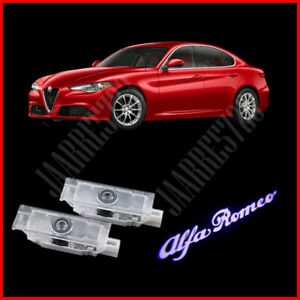 2x LED White Alfa Romeo letter Logo Door Courtesy Light Projector for Alfa Romeo