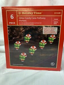 Holiday Time Light Up Glitter Candy Canes Pathway Markers Set of 6 per box.
