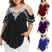 Summer Women Blouse Plus Size Lace Appliques Cold Shoulder V-Neck T-Shirt Tops