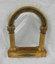 "Italian Style Wall Mirror - 8"" X 6"" Gold & Cobalt Hand Painted Pillars & Arch"