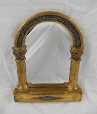 "Italian Style Wall Mirror - 8"" X 6""  Gold & Cobalt Hand Painted Pillars & Arch"