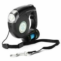 3In1 Retractable Dog Walking Lead Leash LED Light Clean Up Poo Bag Dispenser AU