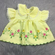 Vintage Baby Girls Toddler Yellow Lace Pink Floral Flutter Sleeve Dress Easter