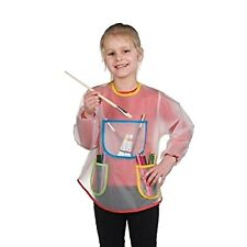 4 Children Transparent Hobby Apron With 3 Pockets Paint Drawing Brush Smock