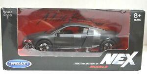 1:24 Scale Audi R8 NEX Models Welly Matte Black Collection Diecast Model Car