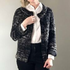 NEW Eileen Fisher Fuzzy Mohair Boucle Cardigan Sweater in Gray/Blk - SZ M #S3199