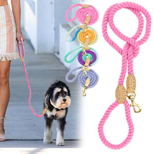 5ft Braided Cotton Rope Dog Leash Strong Small Large Dog Walking Lead Colorful