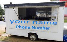 2 x Burger Van Name 2 x Phone Numbers - Trailer - Show - Decals - Vinyl Stickers