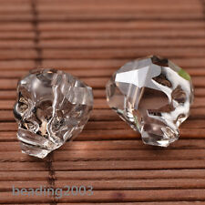 1pcs Faceted Electroplate Cool Skull Glass Beads Pearl Luster Plated 14x13x14mm