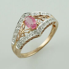 Pink Spinel 0.55 Ct. Exotic Ring & White Topaz .925 Silver Wedding Gift Jewelry