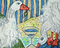 SEBASTOPOL GOOSE pop Art Print 11 x 14 Signed Collectiblle Vintage Style Geese