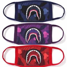 2017 Japanese A Bathing Ape Bape ABC Red Camo shark mouth Face Mask Bape Head