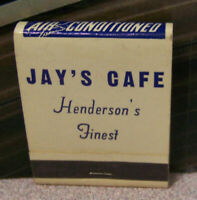 Vintage Matchbook Cover Q7 Henderson Texas Jay's Cafe Finest Air Conditioned